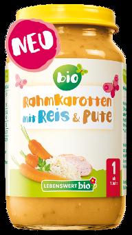 Rahmkarotten mit Reis & Pute
